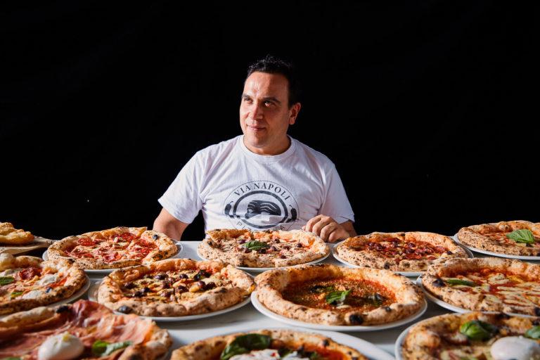 Via Napoli's Owner Luigi Esposito With Pizzas
